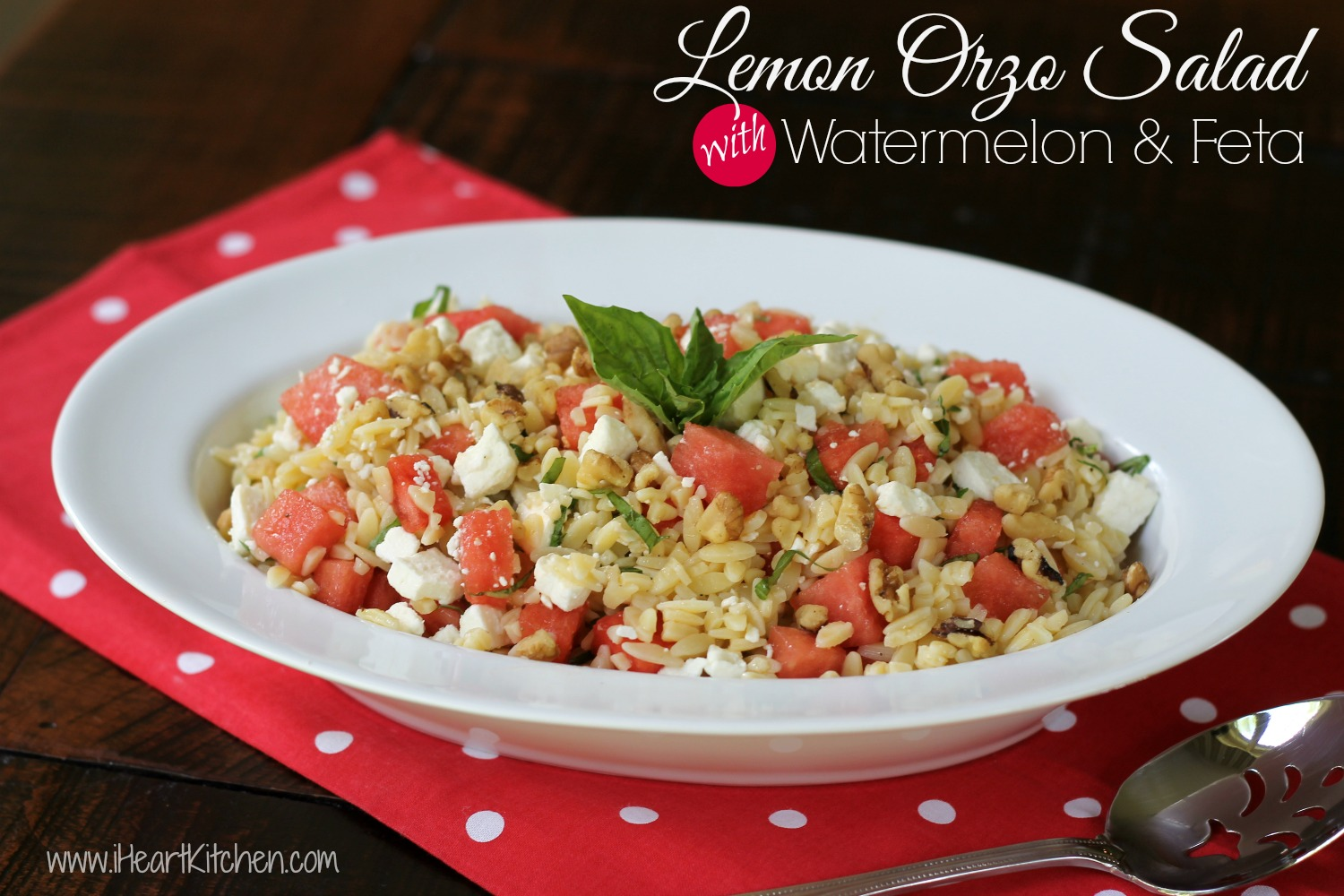 Lemon Orzo Salad with Watermelon and Feta