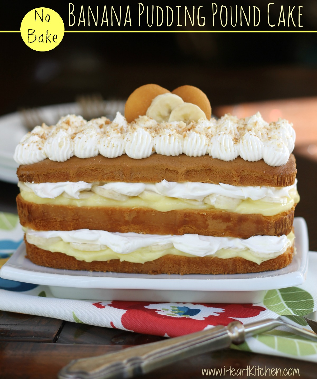 No Bake Banana Pudding Pound Cake