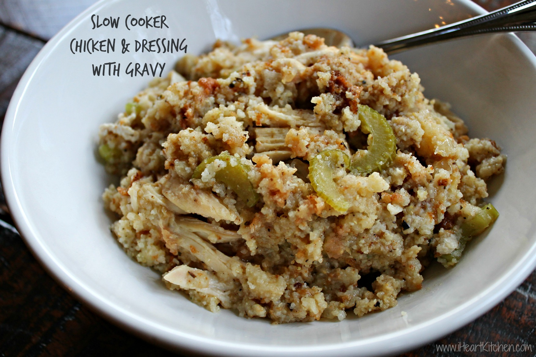 Slow Cooker Chicken & Dressing with Gravy